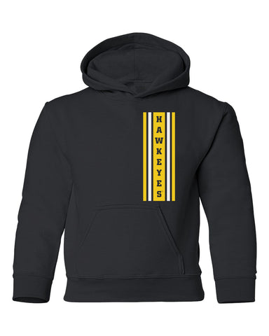 Iowa Hawkeyes Youth Hooded Sweatshirt - Vertical Stripe with HAWKEYES