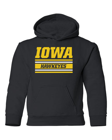 Iowa Hawkeyes Youth Hooded Sweatshirt - Horizontal Stripe Italic Iowa HAWKEYES