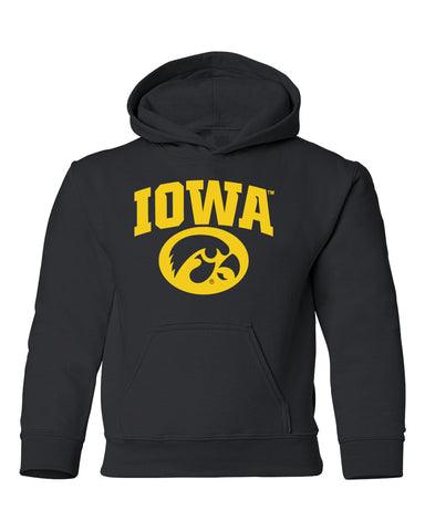 Iowa Hawkeyes Youth Hooded Sweatshirt - Arched IOWA with Tigerhawk Oval