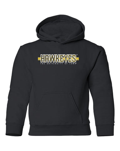 Iowa Hawkeyes Youth Hooded Sweatshirt - Hawkeyes Horizontal Stripe