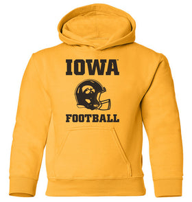 Iowa Hawkeyes Youth Hooded Sweatshirt - Iowa Football Helmet on Gold