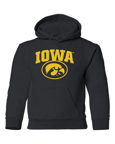 Iowa Hawkeyes Youth Hooded Sweatshirt - IOWA Oval Tigerhawk on Black