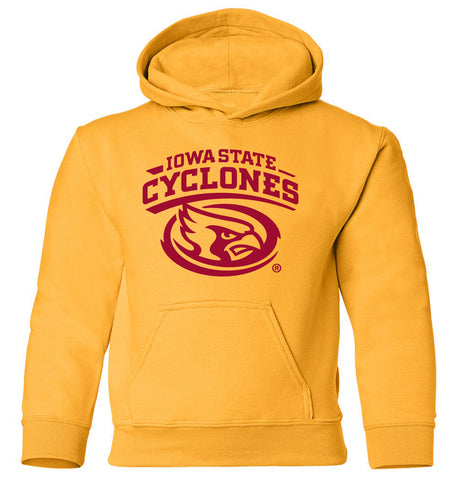 Iowa State Cyclones Youth Hooded Sweatshirt - Cy The ISU Cyclones Mascot Swirl