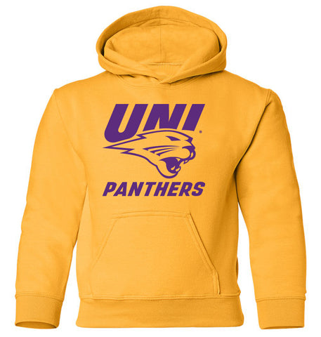Northern Iowa Panthers Youth Hooded Sweatshirt - Purple UNI Panthers Logo on Gold