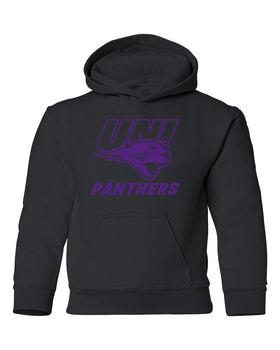 Northern Iowa Panthers Youth Hooded Sweatshirt - Purple UNI Panthers Logo on Black