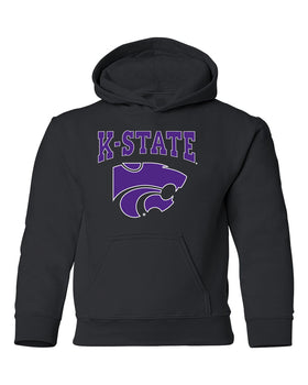 K-State Wildcats Youth Hooded Sweatshirt - K-State Powercat with Outline