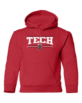 Texas Tech Red Raiders Youth Hooded Sweatshirt - Raider Red 3-Stripe Guns Up