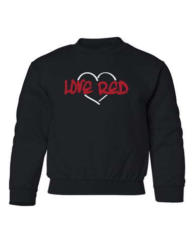 "Nebraska Youth Crewneck Sweatshirt - ""Love Red"" White Heart"