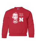 "Abe Lincoln ""No place like NEBRASKA"" Huskers Youth Crewneck Sweatshirt"