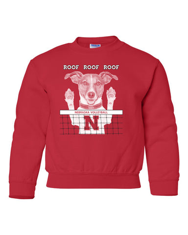Nebraska Husker Volleyball Spike Dog ROOF ROOF ROOF Youth Crewneck Sweatshirt