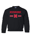Nebraska Husker Youth Crewneck Sweatshirt - HUSKERS Stripe N