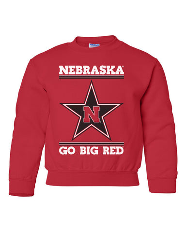 Nebraska Husker Youth Crewneck Sweatshirt - Star N GO BIG RED