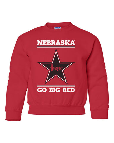 Nebraska Husker Youth Crewneck Sweatshirt - Star Huskers GO BIG RED