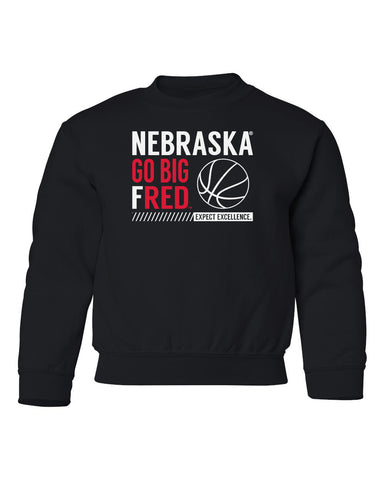 Nebraska Huskers Youth Crewneck Sweatshirt - Nebraska Basketball - GO BIG FRED