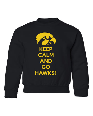 Iowa Youth Crewneck Sweatshirt - Keep Calm and Go Hawks
