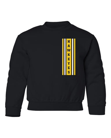 Iowa Hawkeyes Youth Crewneck Sweatshirt - Vertical Stripe with HAWKEYES