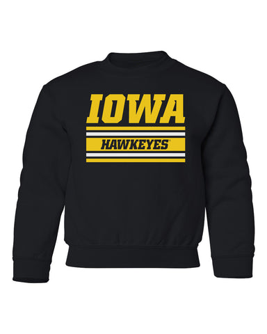 Iowa Hawkeyes Youth Crewneck Sweatshirt - Horizontal Stripe Italic Iowa HAWKEYES