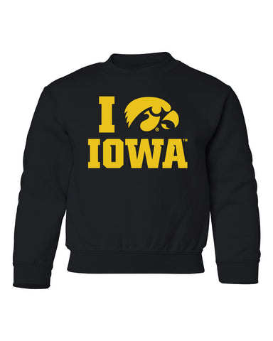 Iowa Hawkeyes Youth Crewneck Sweatshirt - I Love IOWA