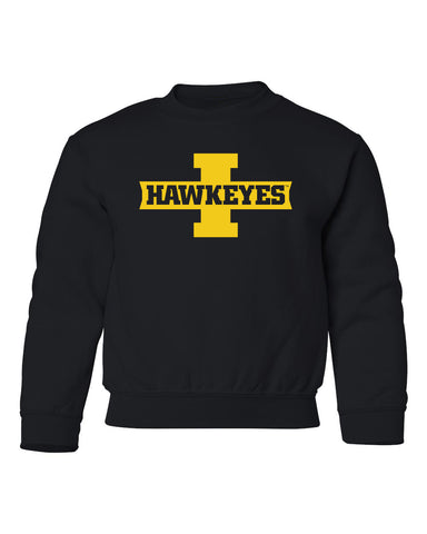 Iowa Hawkeyes Youth Crewneck Sweatshirt - Block I with HAWKEYES
