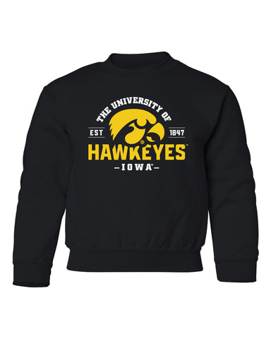 Iowa Hawkeyes Youth Crewneck Sweatshirt - The University of Iowa Hawkeyes EST 1847