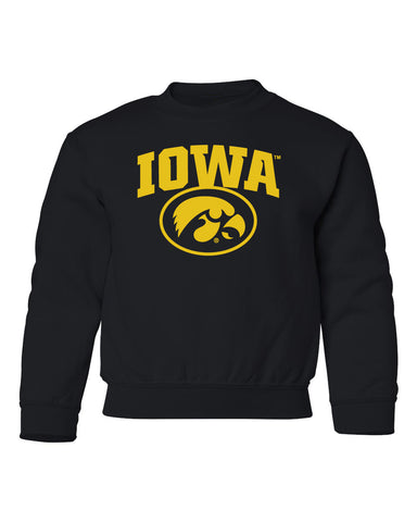 Iowa Hawkeyes Youth Crewneck Sweatshirt - IOWA Oval Tigerhawk on Black