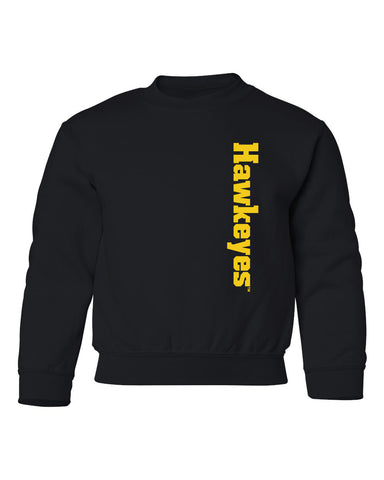 Iowa Hawkeyes Youth Crewneck Sweatshirt - Vertical Offset Hawkeyes