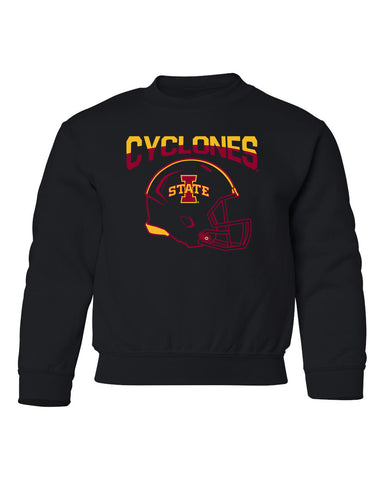 Iowa State Cyclones Youth Crewneck Sweatshirt - ISU Cyclones Football Helmet