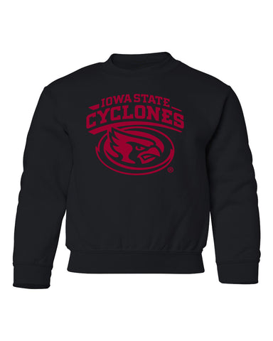 Iowa State Cyclones Youth Crewneck Sweatshirt - Cy The ISU Cyclones Mascot Swirl
