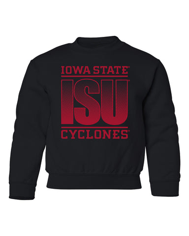 Iowa State Cyclones Youth Crewneck Sweatshirt - ISU Fade Red on Black