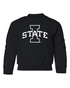 Iowa State Cyclones Youth Crewneck Sweatshirt - I-State Primary Logo Blackout