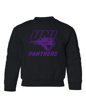 Northern Iowa Panthers Youth Crewneck Sweatshirt - Purple UNI Panthers Logo on Black