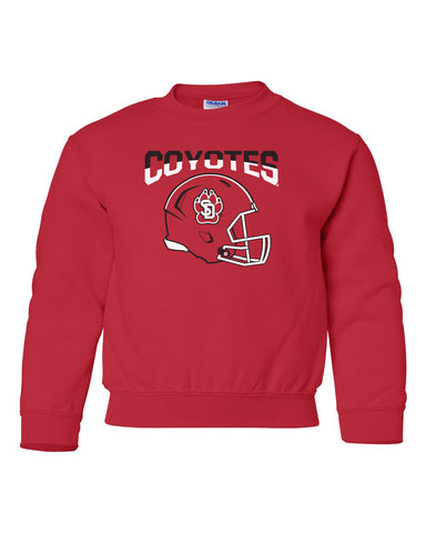 South Dakota Coyotes Youth Crewneck Sweatshirt - USD Football Helmet
