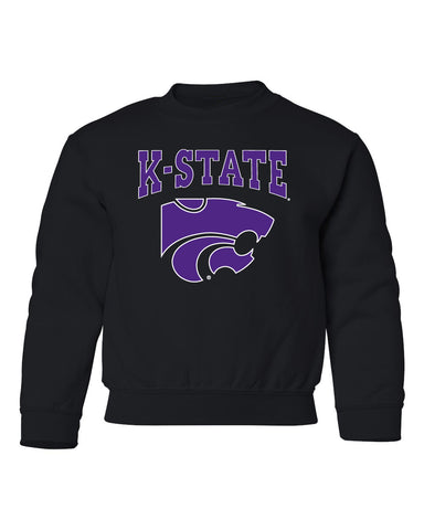 K-State Wildcats Youth Crewneck Sweatshirt - K-State Powercat with Outline