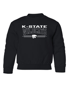 K-State Wildcats Youth Crewneck Sweatshirt - Wildcats with 3-Stripe Powercat