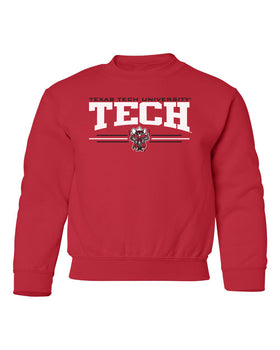 Texas Tech Red Raiders Youth Crewneck Sweatshirt - Raider Red 3-Stripe Guns Up