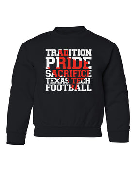 Texas Tech Red Raiders Youth Crewneck Sweatshirt - Texas Tech Football Tradition