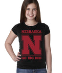 "Nebraska Cornhuskers ""Nebraska N GO BIG RED"" Youth Girls Tee Shirt"