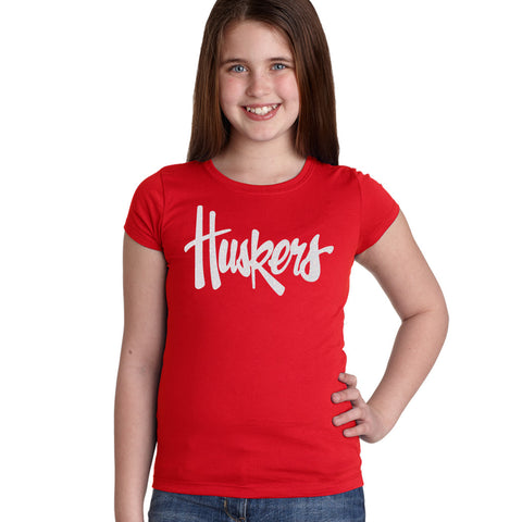 "Nebraska Legacy Script Glitter ""Huskers"" Youth Girls Tee Shirt"