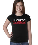 "Nebraska Cornhuskers ½ & ½ ""HUSKERS"" Youth Girls Tee Shirt-Black-XL"
