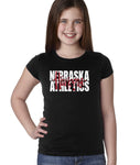 "Nebraska Athletics Legacy Script ""Huskers"" Youth Girls Tee Shirt-Black-XL"
