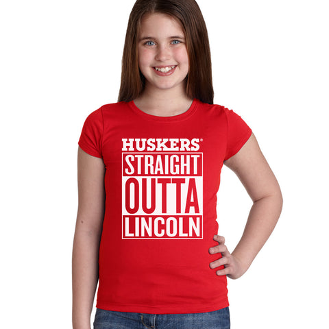 "Nebraska ""HUSKERS STRAIGHT OUTTA LINCOLN"" Youth Girls Tee Shirt"