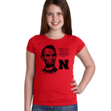"Abe Lincoln ""No place like NEBRASKA"" Huskers Youth Girls Tee Shirt"