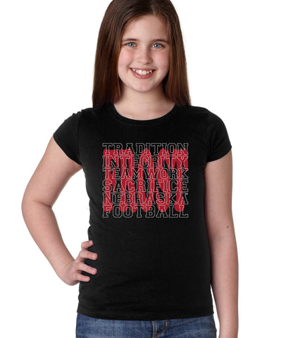 "Nebraska Football with ""FROST"" Background Youth Girls Tee Shirt"