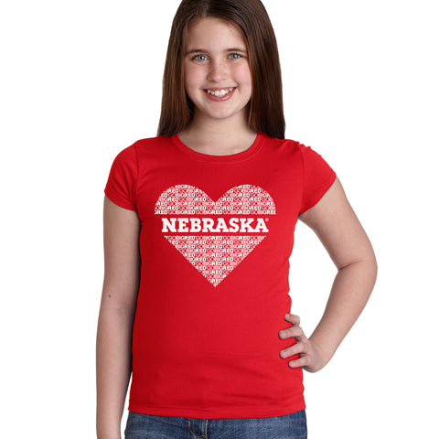 """GO BIG RED"" NEBRASKA Heart Youth Girls Tee Shirt"