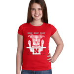 Nebraska Husker Volleyball Spike Dog ROOF ROOF ROOF Youth Girls Tee Shirt