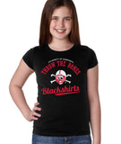 Nebraska Husker Youth Girls Tee Shirt - Script Blackshirts THROW THE BONES