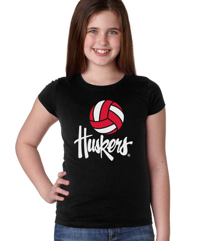 Nebraska Husker Youth Girls Tee Shirt - Volleyball Legacy Script Huskers