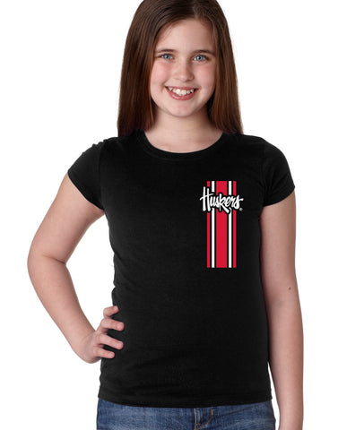 Nebraska Husker Youth Girls Tee Shirt - Vertical Stripe Script Huskers