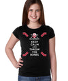 Nebraska Husker Youth Girls Tee Shirt - Keep Calm and THROW THE BONES