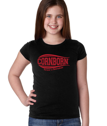 Nebraska Youth Girls Tee Shirt - CORNBORN - Forever a Nebraskan